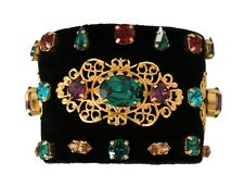 DOLCE & GABBANA Bracelet Black Leather Silk NATALE Crystal Jewelled