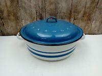 Vintage Large 28cm Retro Falcon Enamel Casserole Dish Pan Blue White Stripe Aga
