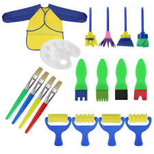 18Pcs Paint Brushes Set Sponge Drawing Art DIY Tools with Palette and Apron Roll