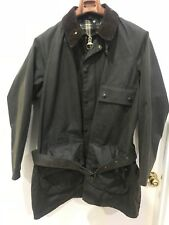 Vintage Barbour Solway Zipper Olive Green Waxed Jacket Coat MADE IN ENGLAND XL