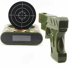 Novelty Gadget Funny LCD Gun Alarm Clock Target Panel Shooting Game Toy Gift Kit