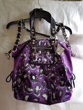 Coach Poppy Purple Ocelot Print Tote Handbag Black Patent Authentic Sequins
