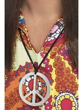 Peace Sign Medallion Necklace 60s 70s 80s Hippie Mens Ladies Hippy Fancy Dress