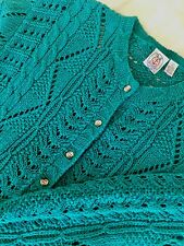 NWT Gorgeous JG Hook Size M - L Hand Knit Fisherman Green Teal Nordic Cardigan