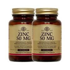 2x Solgar Zinc 50 mg, 100 Tablets FREE US SHIPPING MADE IN USA FRESH