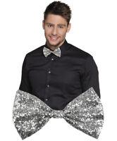 Noeud papillon pailleté argenté déguisement homme elastique soirée St Sylvestre