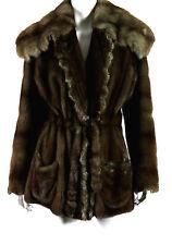 DESIGNER Brown Ranch Mink Fur & Barguzin Sable Fur Collar Belted Coat M