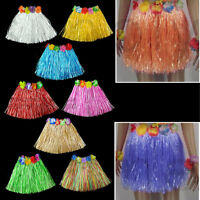 Hawaiian Grass Skirt Flower Hula Lei Garland Ladies Fancy Dress Costume