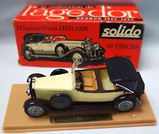 SOLIDO 145 HISPANO-SUIZA H6B 1926 MODEL CAR CREAM BROWN WITH BOX & DISPLAY CASE!