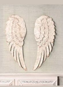 Off White Stunning Metal Angel Wings Wall Decor Set of 2 NEW .