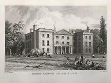 1829 Antique Print; Vines / Mount Radford College, Exeter, Devon after Bartlett