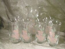 Vintage Pitcher and 6 Matching Glasses Floral Flower Motif