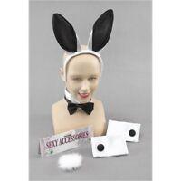 White & Black Bunny Girl Set - Fancy Dress Hen Party Rabbit Easter Ears Tail