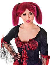 Ladies Burgundy Streak Wig In Bunches Steampunk Cosplay Fancy Dress Prop