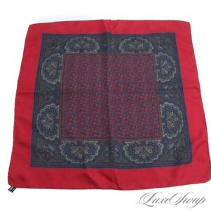 LUXE Vintage Made Italy 100% Silk Cherry Paisley Tree of Life Pocket Square #1