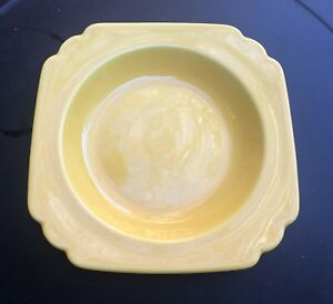 """NICE & CLEAN VINTAGE YELLOW HOMER LAUGHLIN RIVIERA 8"""" SOUP BOWL DEEP PLATE"""
