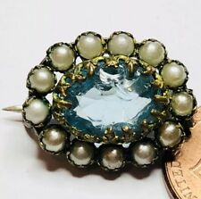 Pearl Gold Pin Adorable Antique Blue Stone