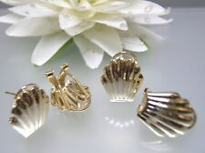 3 pairs Vintage gold plated plain sea shell shape french clip earrings