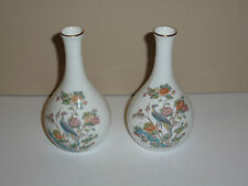 Pair Wedgwood Kutani Crane Tall Neck Small China Bud Vases-One Flawed