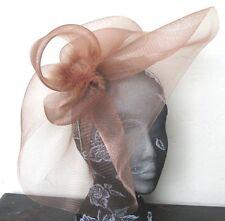 brown tan feather fascinator millinery burlesque headband wedding hat hair piece