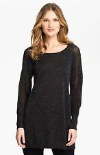 BNWT $258 Eileen Fisher Shimmering Fine Merino CHARCOAL Tunic Long Top PM