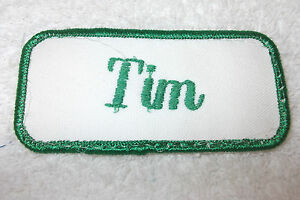 TIM USED EMBROIDERED VINTAGE SEW ON NAME PATCH TAGS ASSORTED COLORS AVAILABLE