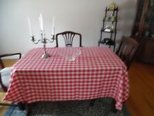 Red and White Checked Polyester Tablecloth