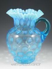 Vintage FENTON BLUE OPALESCENT COIN DOT LARGE WATER PITCHER JUG Ruffled Edge