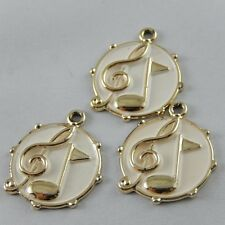**39029 8Pcs Rose Gold Alloy Round Music Note Pendant Charms 25*21*2mm