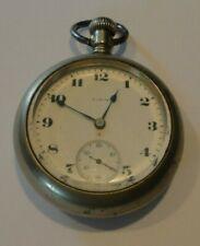 Pocket Watch For Parts Or Repair Vintage Elgin Nickel Silver 15 Jewels