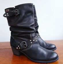 🇪🇸PIKOLINOS🇪🇸Black Leather Studded Heeled Mid Calf Boots Size 39/6 - P&P Inc