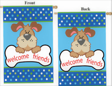 "Welcome Friends Dog Puppy With Bone 2-Sided Large House Flag 28"" X 40"""