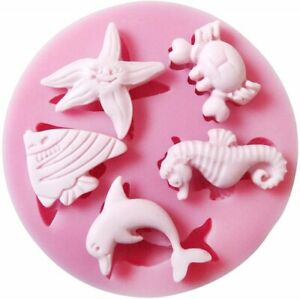 Crab Dolphin Seahorse Starfish Fish Silicone Mould 3D Cake Icing Chocolate UK