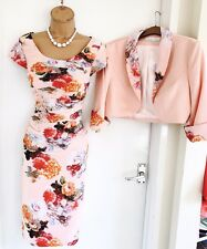 Stunning L'ATELIER Floral Dress Suit/ Embroidered Pencil Dress & Jacket Uk 10/