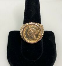 14KT Nugget Ring Containing $2.5 Dollar 22KT Gold Coin SIZE 10.5