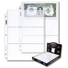 2 Boxes 200 BCW 3 Pocket Pages Currency Dollar Bill Sheets Holders