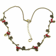 necklace choker pendant chain leaf branch tree red beads girl women diy jewelry