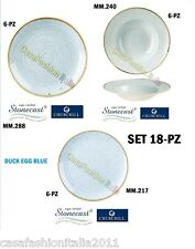 CHURCHILL SET 18 PZ PIATTI DUCK EGG BLUE PORCELLANA LUX VETRIFICATA STONECAST