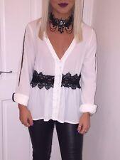 Women's Boohoo Lace Chiffon Shirt Size 8