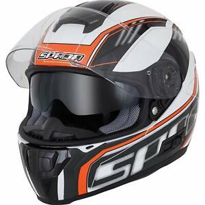 Spada SP-16 Gradient Motorcycle Helmet WHITE ORANGE Sun Visor ACU Gold
