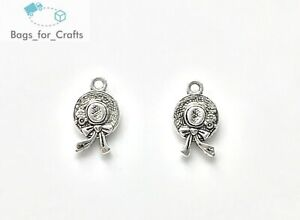 Tibetan Silver Hat with Bow Charms Pendants 19mm Double Sided (TC68) Sun Summer