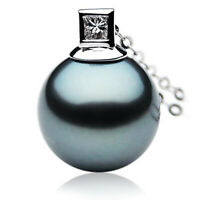 Genuine Tahitian Black Pearl Diamond Pendant 13mm Pacific Pearls® Gifts For Wife