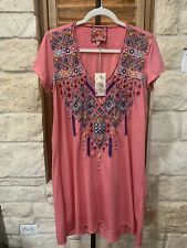 Johnny Was Women's Cotton Dress/Tunic Size Small Pink Embroidered NWT $160