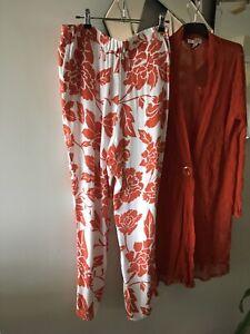 SPORTSCRAFT Coral Peach Orange White Floral Soft Lightweight Pants 14 BNWOT