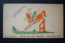 Storm Brothers owners JACK & JILL RANCH Montague, Michigan vintage postcard 1945