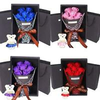 Bouquet Artificial Soap Rose Flower Bear Birthday Day Gift Wedding Birthday E2Y8