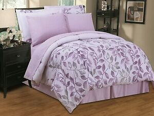 Lavender Purple Gray Leaves 8 pc Comforter Sheet Set Twin Full Queen King Bed