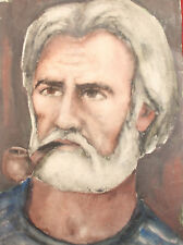 Vintage watercolor painting portrait man smoking pipe