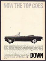 """1962 Chevrolet Corvair Monza Convertible photo """"The Top Goes"""" vintage print ad"""