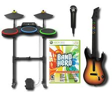 BAND HERO Super Bundle Kit Game XBOX 360 FREE SHIPPING guitar drums microphone